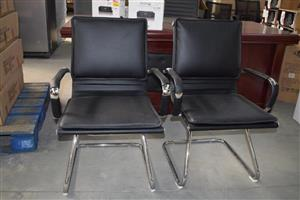 2 Black leather salon chairs