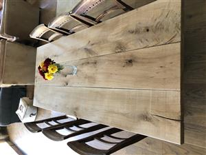 Solid weathered Oak dining / patio table.