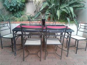 PATIO SET. WETHERLYS STEEL/ALUMINIUM FRAME TABLE WITH CONCRETE COMPOSITE TOP, 6 x RATTAN CHAIRS & 2 x SIDE TABLES