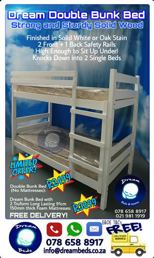 FREE DELIVERY! NEW DOUBLE BUNK BEDS - Beautifully finished in Oak, Antique or Solid White