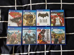 I am selling 8 Playstation 4 games that are practically brand new