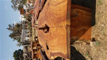 wooden slab and solid natural wood furniture