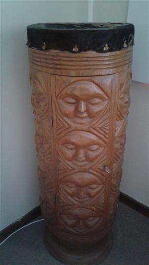 Hand caved Namibian liquor cabinet drum