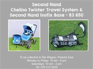 Second Hand Chelino Twister Travel System & Second Hand Isofix Base