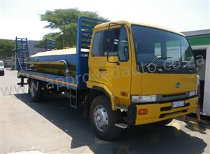 2002 Nissan UD80 used flatbed beaver-tail used truck with removable water tank - AA2944