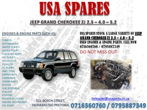 JEEP GRAND CHEROKEE ZJ 2.5 4.0 5.7 ENGINES AND ENGINE PARTS FOR SALE - USA SPARES