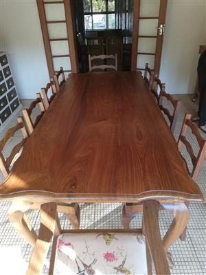 Beautiful Kiaat table and 10 chairs