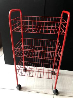 Modern Wire mesh Veggie rack or bathroom caddy on casters