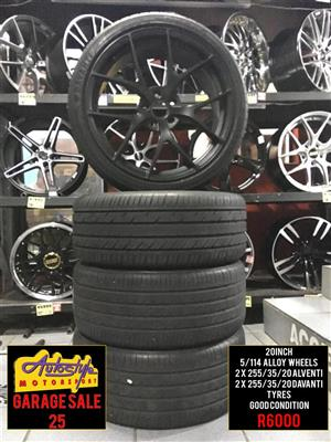 Garage Sale 25 R6000 20 inch Alloy Wheels 5-114 pcd  2 x 255-35-20 inch  Alventi Tyres 60 percent Thread  2 x 225-40-18 inch Davanti Tyres 60 percent Thread Good Condition  Suitable for Hyundai Santa Fe and  Most Cryslers and  Jeeps