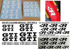 Set off 8 VW GTI brake caliper decals stickers.
