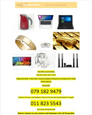 Get cash back today for your unwanted goods