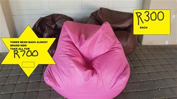 3 Bean bags for sale