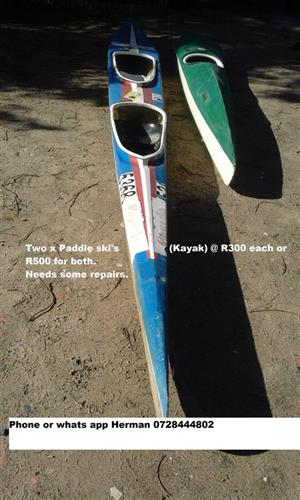 Two paddle ski kayaks for sale