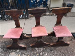 Wooden bar chairs 3 pieces available