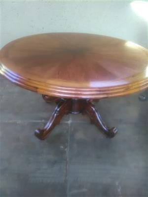 Round solid oak decorated table