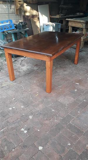 Dining table solid meranti top with recycled nordic pine base for sale.