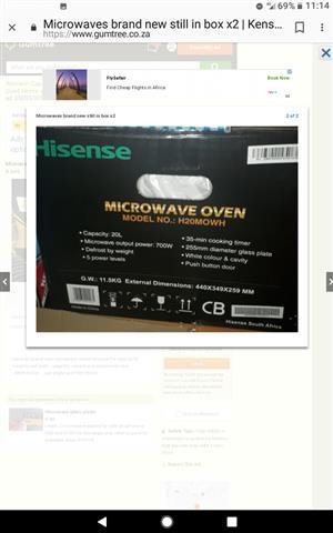 Hi sense  20 liter microwaves X2 for sale brand new in box still unopened
