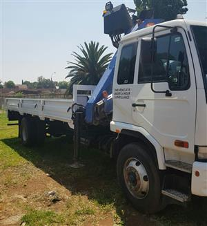 2008 Nissan UD100 dropside with a cab mounted crane, PM14 Crane
