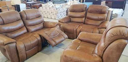 COMPLETE BROWN LEATHER LOUNGE SUITE