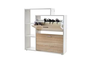 Two Compartment Shoe Storage Cabinet With 3 Display Shelves - White