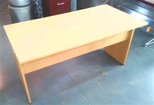 Oak straight desk with panel leg