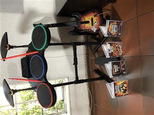 In Great Condition PlayStation 3 Complete Band Hero Drum-Set with 4 Original Games for Sale...