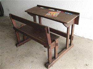 School Desk - Antique Oak Solid Wood