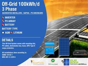Off-Grid 100kWh per day – 36kw Inverter 3 Phase