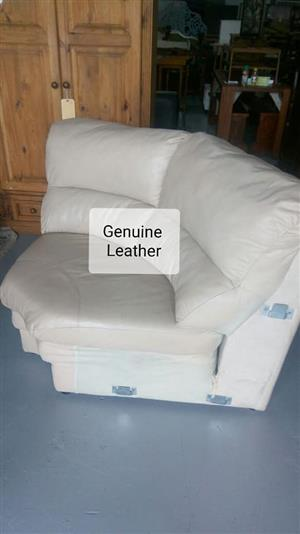 Genuine leather white corner couch