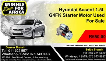 Hyundai Accent 1.5L G4FK Starter Motor Used For Sale.
