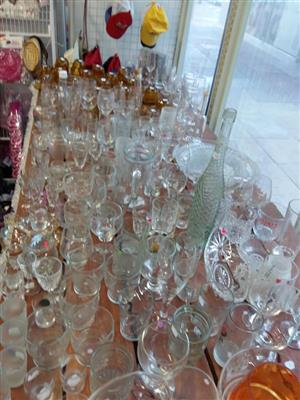 Large variety of drinking,cherry and wine glasses