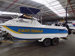 cobra cat 630 on trailer 2 x 150 hp mercury 4 strokes 156/158 hour