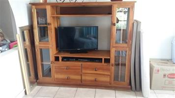 WOODEN WALL UNIT WITH TV FOR SALE