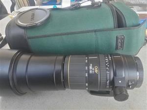 Sigma 170-500 Canon fit lens met n lens hood en sak