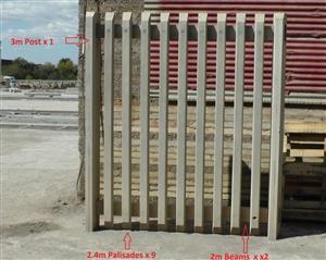 Concrete Palisade Mould Set consist of:- 1 x 3m Post; 9 x 2.4m Pales & 2 x 2m Beams