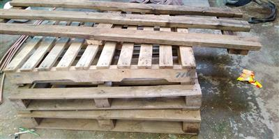 Wooden pallets and shelf planks