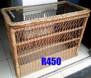 Glass top wicker table for sale
