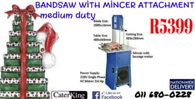 MEDIUM DUTY BANDSAW WITH MINCER ATTACHMENT FLOOR MODEL