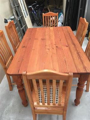 Oregan pine table and chairs