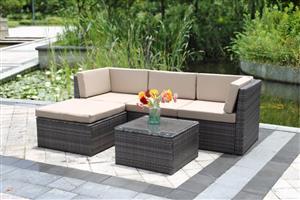 Vilagio 5 Piece Outdoor Wicker Sectional Living Sofa Patio Set - Grey