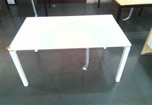 Steel frame desk white