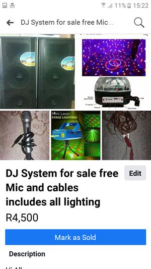 DJ System for sale free Mic and cables includes all lighting includes