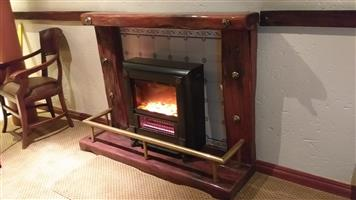 Rhodesian Teak Railway Sleeper fireplace surround