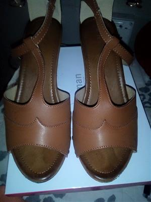 Brown open toe shoes for sale