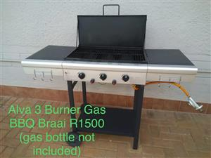 Alva 3 Burner Gas BBQ Braai - As New