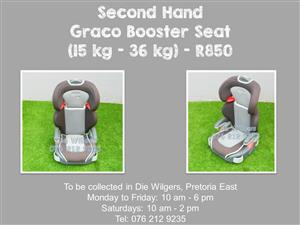 Second Hand Graco Booster Seat (15 kg - 36 kg) - Grey