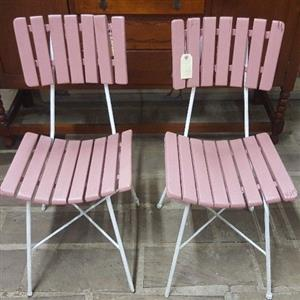 Pink wooden chair (2 available)