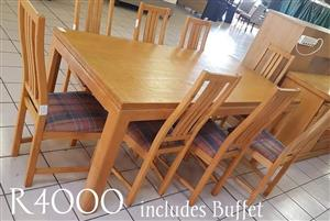 8 Seater wooden dining set with buffet