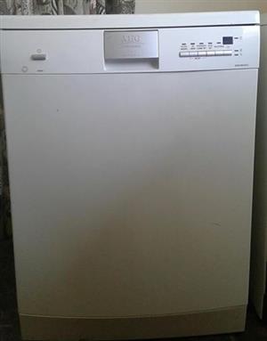 AEG white dishwasher with silver handle