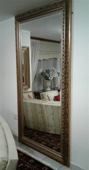 Magnificent very large beveled mirror